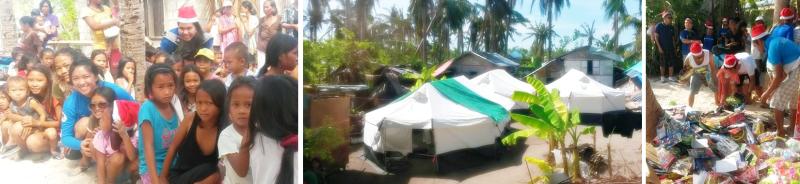 wait in line. tents & tarps. helping hands.